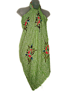 HAWAIIAN GREEN HIBISCUS FLOWERS PAREO BEACH WRAP COVER UP SARONG