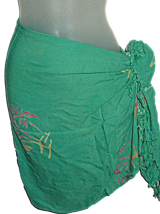 HAWAIIAN LIGHT GREEN PALM TREES BATIK SHORT HALF SARONG WRAP (S-1X)