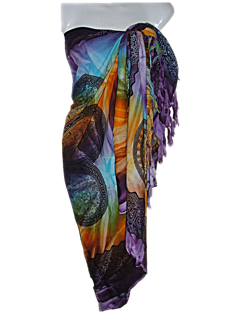 Tie Dye Irish Celtic Circles Pattern Sarong Pareo Swimsuit Cover Up (S-XL)