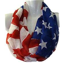 Load image into Gallery viewer, US Flag Patriotic Lightweight Infinity Scarf