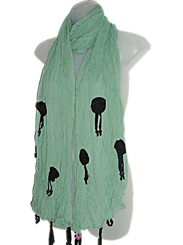 FASHION STATEMENT GREEN SCARF WITH ROSETTES & BEADS