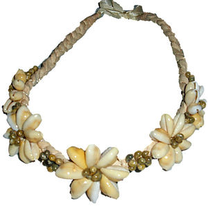 Hawaiian Jewelry Green Cowry & Mongo Shell Lauhala Necklace Choker