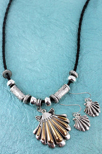 Two-Tone Seashell Pendant Black Cord Necklace and Earring Set