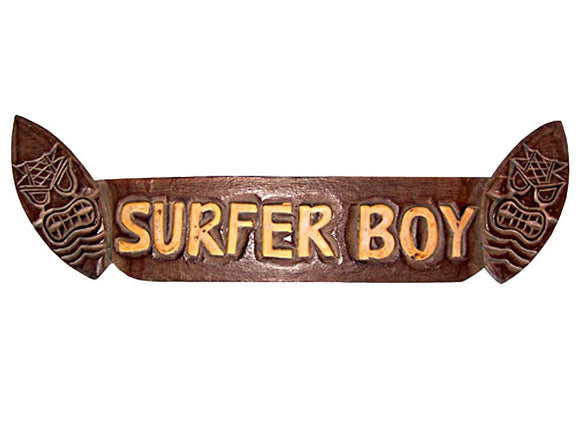 East of Maui Hawaiian Wood Sign Plaque Surfer BOY with Tikis Gift for Surfer 21