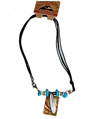 HAWAIIAN PEWTER SURFBOARD & TURQUOISE BEADS CHOKER NECKLACE