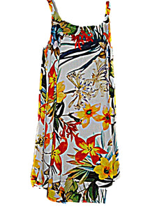 Hawaiian Tropical White Floral Print Dress for Cruise Wedding (Size S/M ) tc074