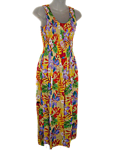 Hawaiian Tropical Jungle Floral Print Tank Top Long Sundress O/S (S-L-) tc082