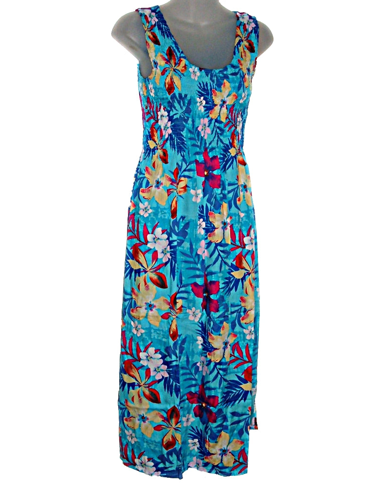 Tropical Jungle Floral Print Tank Top Long Sundress  O/S (S-L) tc082 Light Blue