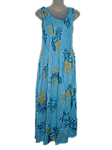 Tropical Hawaiian BOP Bird Paradise Floral Long Sun Dress-ONE Size (M-XL) tc083