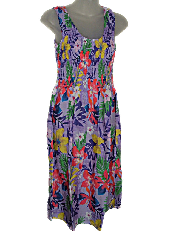 Hawaiian Tropical Jungle Floral Tropical Print Summer Tank Top Sun Dress (S-L-See Measure) tc086