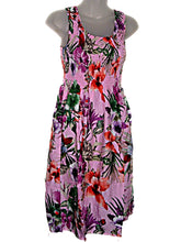 Load image into Gallery viewer, Hawaiian Pink Floral Tropical Flowers Summer Tank Top Sun Dress (S-L-See Measurements) tc086 Pink
