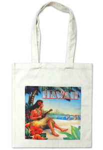Hawaiian Cotton Tote Bag Vintage Hawaii Hula Girl Reusable
