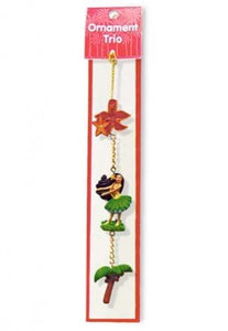Hawaiian Christmas Ornament Hula Maiden Trio