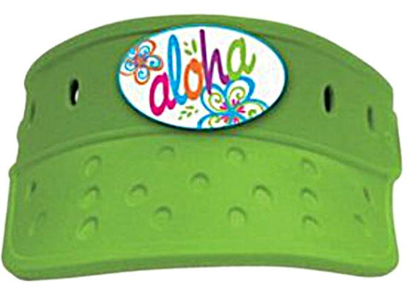 Hawaiian Aloha Lime Green Vizer Visor Sun Beach Hat Unisex One Size Adjustable