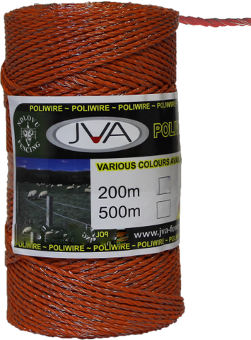 "Electric Fence Poliwire / Poly Wire, 0.1""  diameter, 1640 foot roll - ORANGE"