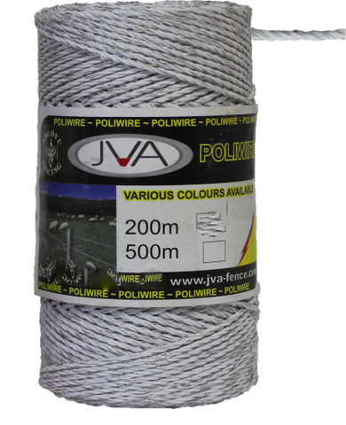 "Electric Fence Poliwire / Poly Wire, 0.1""  diameter, 1640 foot roll - WHITE"