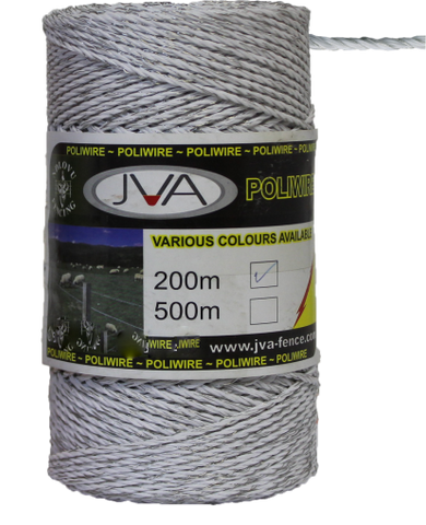 "Electric Fence Poliwire / Poly Wire, 0.1""  diameter, 650 foot roll - WHITE"