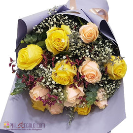 Peach and Yellow Roses Mixed Bouquet