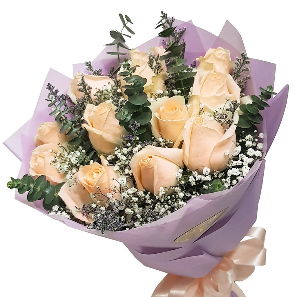 Peach Roses Round Bouquet