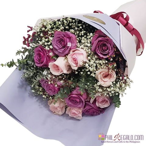 Light Pink and Rare Lilac Roses Mixed Bouquet