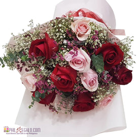Red and Pink Roses Mixed Round Bouquet