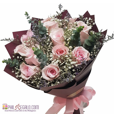 Blush Pink Roses Round Bouquet