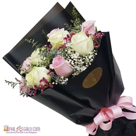 White and Light Pink Roses Mixed Round Bouquet