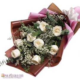 Apricot or White Roses Bouquet