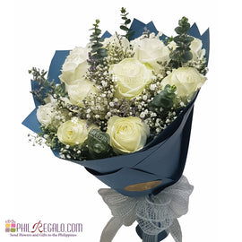 White Roses Round Bouquet