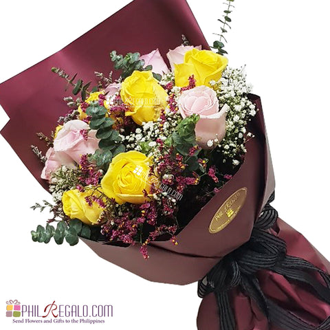 Light Pink and Yellow Roses Mixed Bouquet