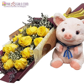 Yellow Roses and Piggy Combo
