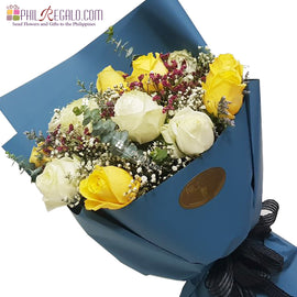 White and Yellow Roses Mixed Round Bouquet