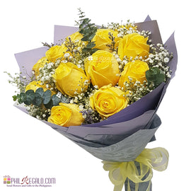 Yellow Roses Round Bouquet