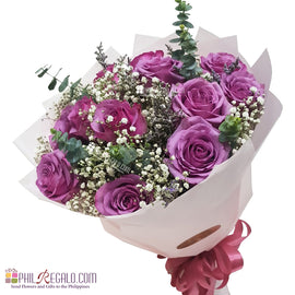 Rare Lilac Roses Round Bouquet