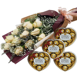 Apricot Roses Bouquet with Ferrero 4 hearts