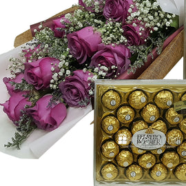 Rose Bouquet with 24 Ferrero Rocher