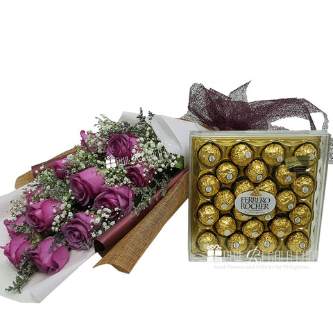Lilac Rose Bouquet with 24 Ferrero Rocher