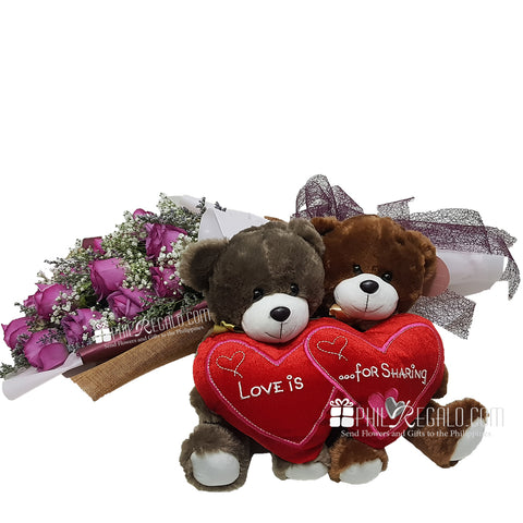 Lilac Bouquet with Heart Bears