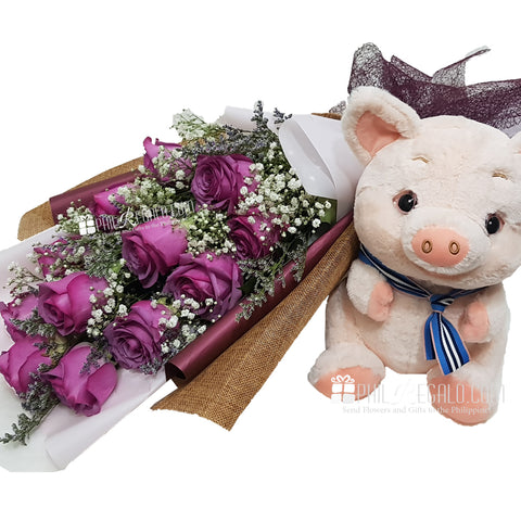 Lilac Roses Flower Bouquet with Piggy
