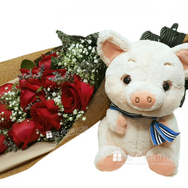 Red n Rosey Bouquet Package
