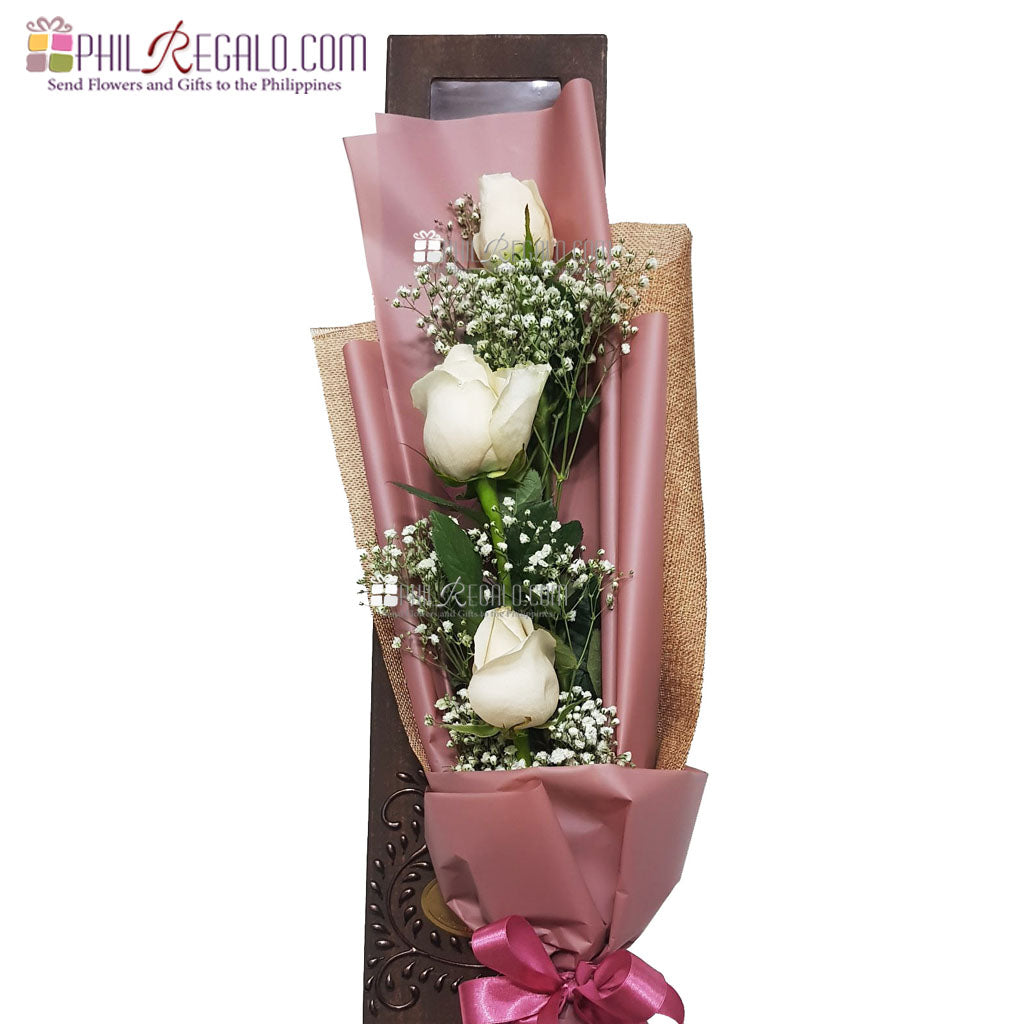 ILY Purely White Rose Bouquet