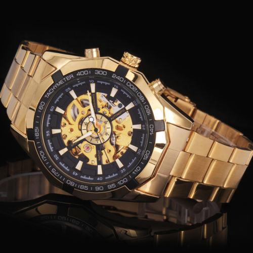 Japan Luxurious Self Winding Mechanical Automatic Gold Plated Watch