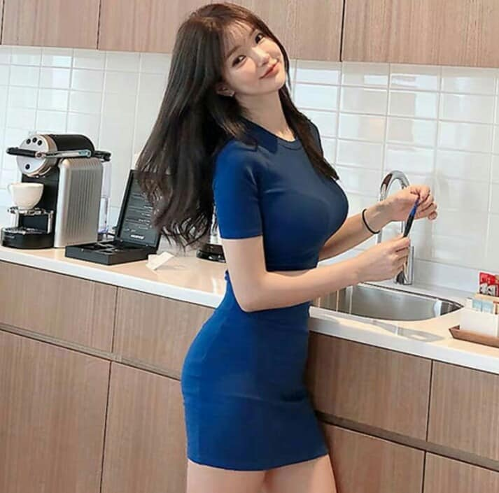 Korean Sexy Short Sleeve Dress (Free Size Cotton Expanded)