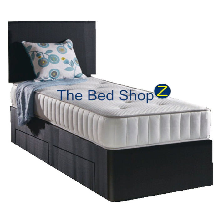 Memory Flex 90cm (3ft) Single Bed with 2 Drawers and Free Headboard in Grey IN STOCK