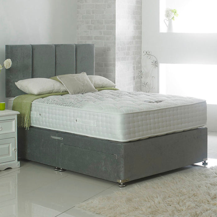 Dura Beds Nimbus 1000 Pocket Sprung 135cm (4ft6) Double Divan Bed with 2 Drawers & London Headboard