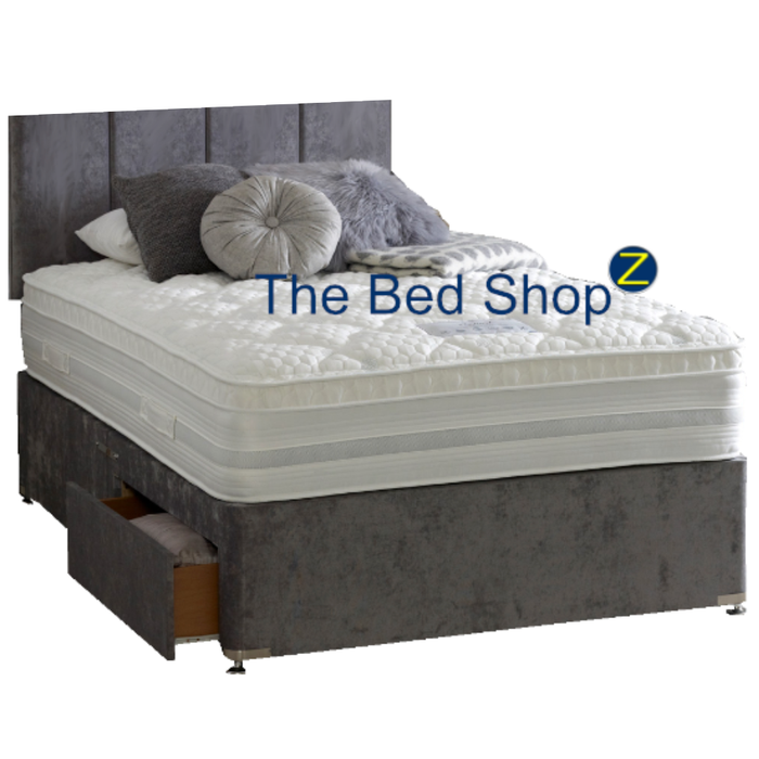 Dura Beds Oxford 1000 Pocket Sprung & Memory Foam 150cm (5ft) Kingsize Divan Bed & London Headboard