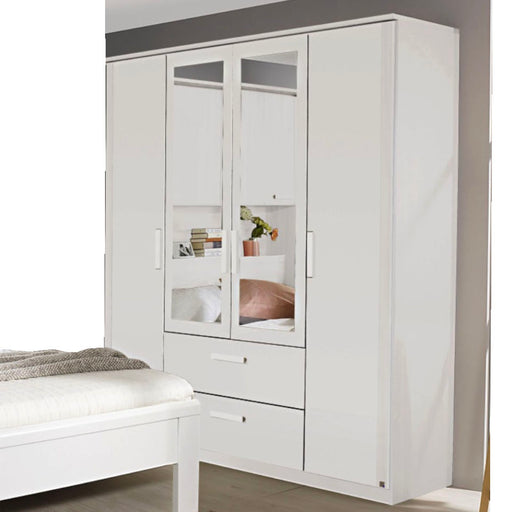 Rauch Rivera 4 Door Combination Wardrobe in White