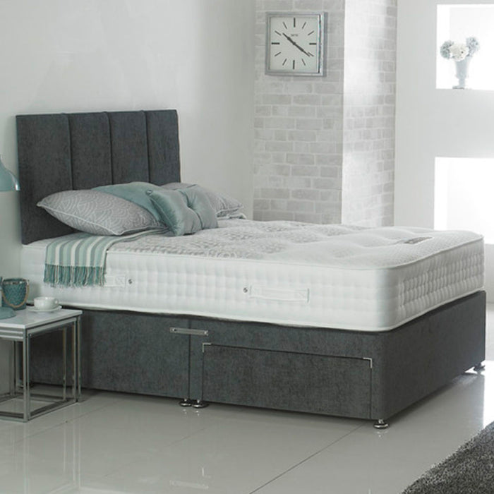 Dura Beds Stratus 1000 Pocket Sprung 135cm (4ft6) Double Divan Bed with 2 Drawers & London Headboard
