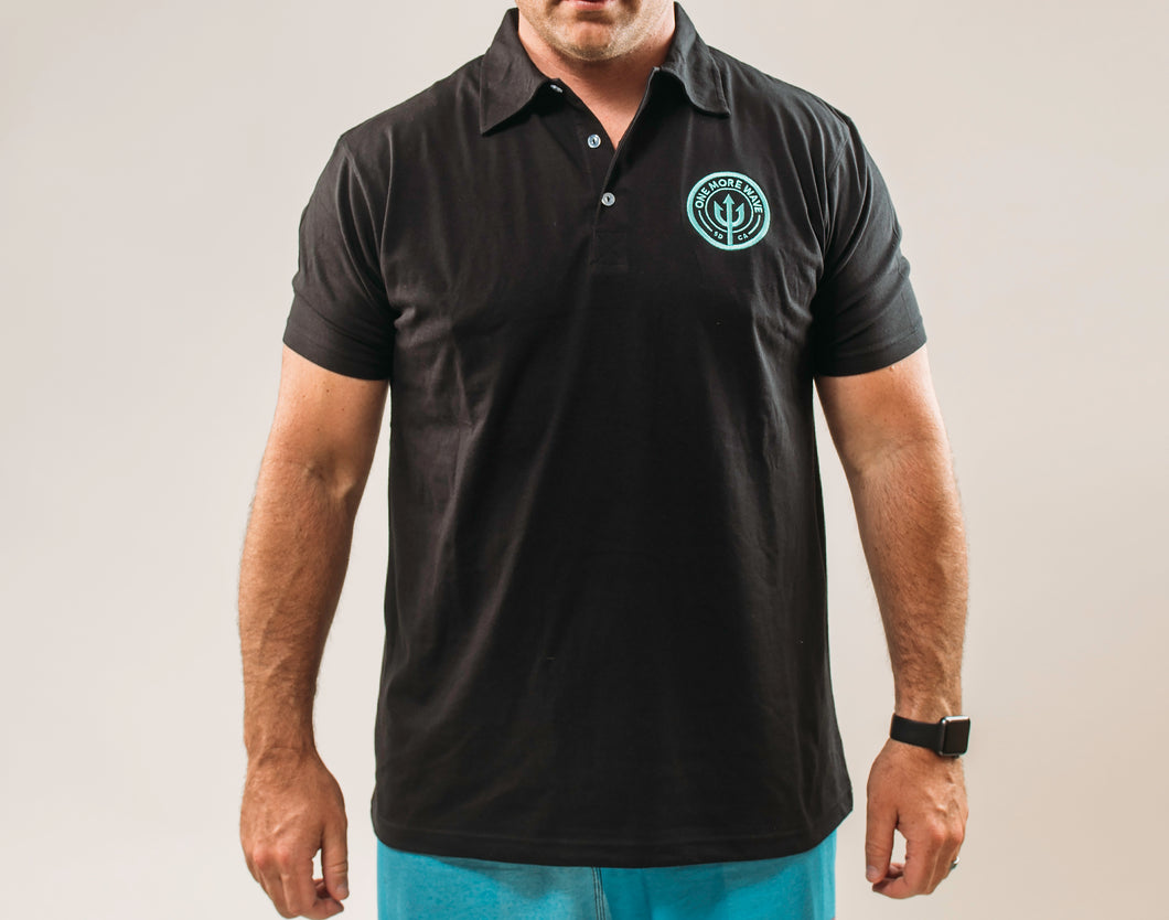 Black Polo w/Teal Logo - Men's