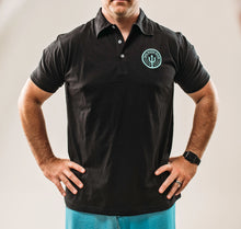 Load image into Gallery viewer, Black Polo w/Teal Logo - Men's